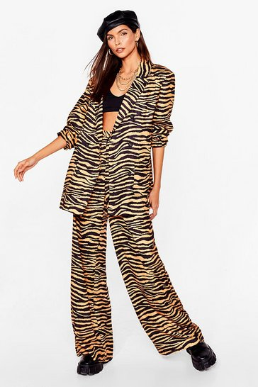 Yellow When the Lights Go Out Zebra Wide-Leg Trousers