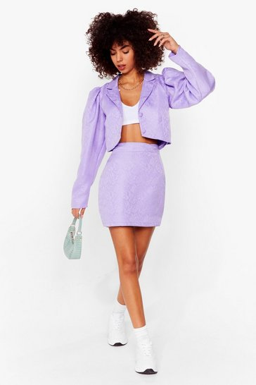 Purple Like It's Jacquard High-Waisted Mini Skirt