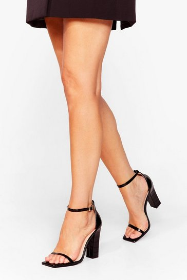 Black Square Here for You Croc Strappy Heels