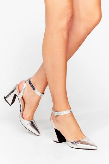Silver Croc the Time Metallic Pointed Heels