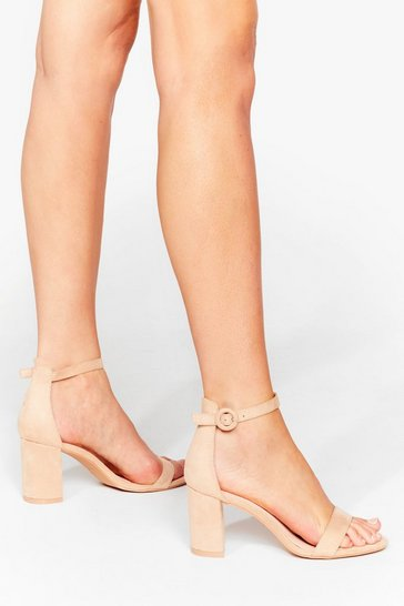 Camel Faux Suede for You Strappy Block Heels