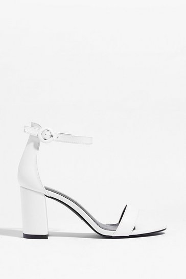 White Made for You Faux Leather Block Heels