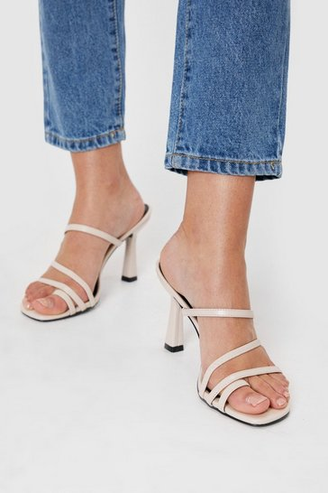 Off white Feelin' Strappy Faux Leather Stiletto Heels