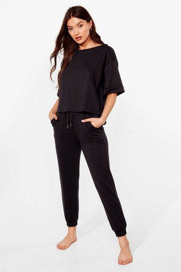 Black Give Us the Tee and Joggers Lounge Set