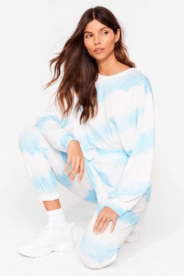 Blue Time to Relax Tie Dye Joggers Lounge Set