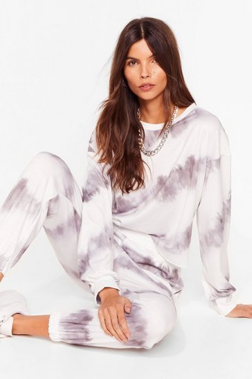 Grey Time to Relax Tie Dye Joggers Lounge Set