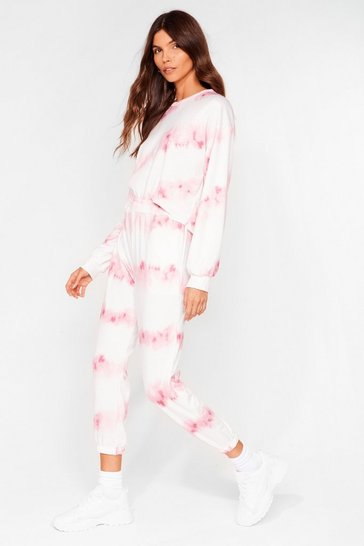 Pink Time to Relax Tie Dye Joggers Lounge Set