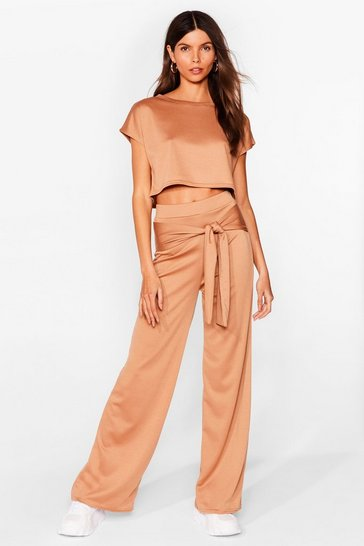 Camel Tell 'Em Tie Cropped Tee and Wide-Leg Pants Set