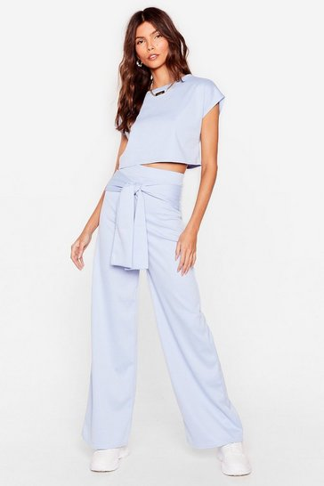 Pale blue Tell 'Em Tie Cropped Tee and Wide-Leg Pants Set
