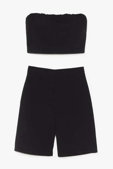 Black Hello Friday Bandeau Crop Top and Biker Shorts Set