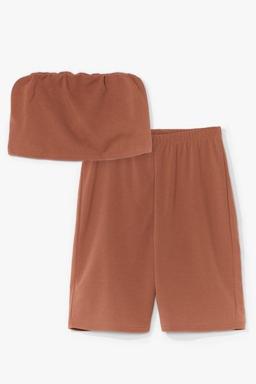 Camel Hello Friday Bandeau Crop Top and Biker Shorts Set
