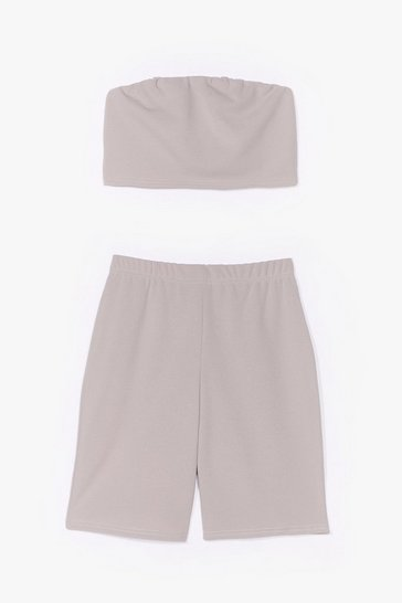 Grey Hello Friday Bandeau Crop Top and Biker Shorts Set