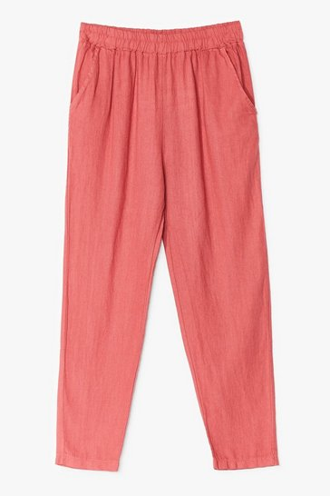 Coral Double Down Linen High-Waisted Pants