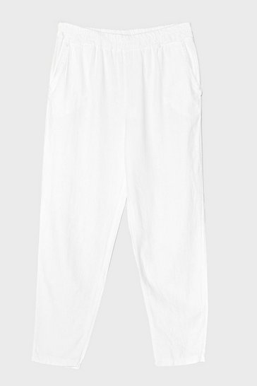 White Double Down Linen High-Waisted Pants