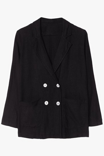 Black Double Down Linen Tailored Blazer