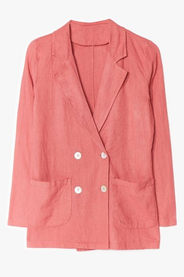 Coral Linen Tailored Button Blazer