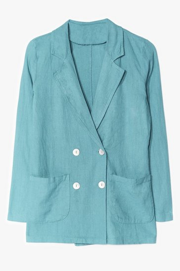 Sage Double Down Linen Tailored Blazer