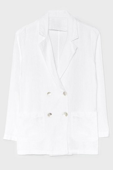 White Double Down Linen Tailored Blazer