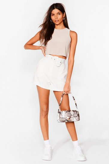 White Working on It Belted Shorts