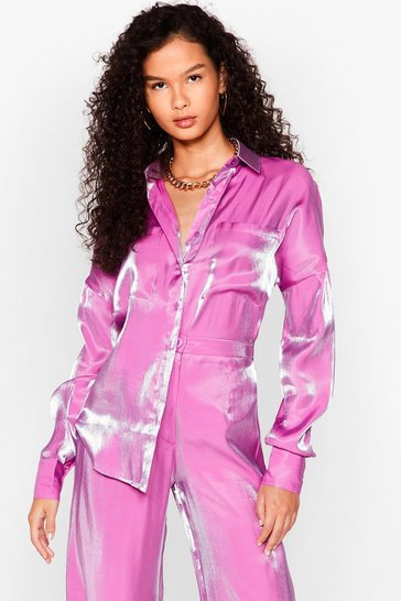 Purple Your Shine is Now Satin Oversized Shirt