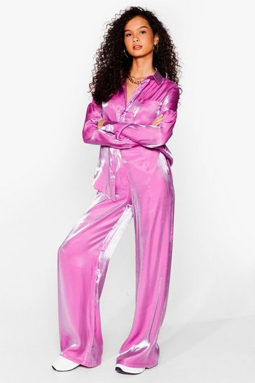 Purple Your Shine is Now Satin Wide-Leg Pants