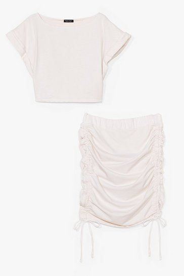 Cream Crop Top and Ruched Mini Skirt Set