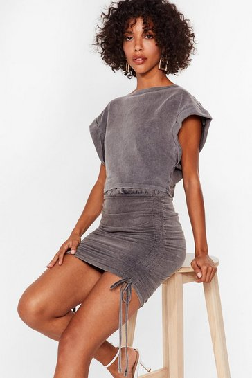 Grey Doesn't Acid Wash With Us Top and Skirt Set