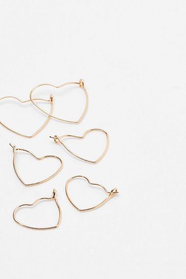 Gold Heart of Hearts 3-Pc Hoop Earring Set