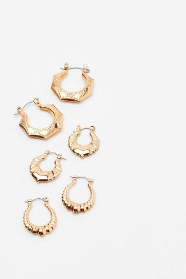 Gold Better Ornate Than Never 3-Pc Hoop Earrings
