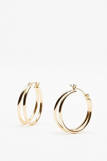 Gold You're in Double Hoop Earrings