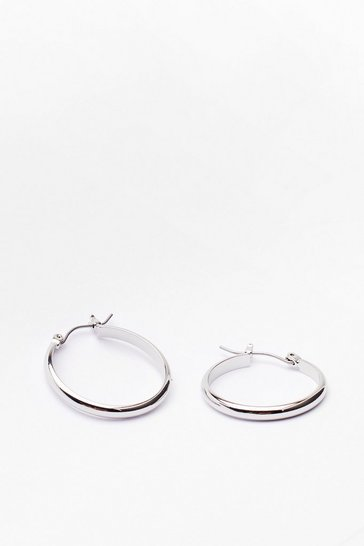 Silver Latch a Glimpse Hoop Earrings