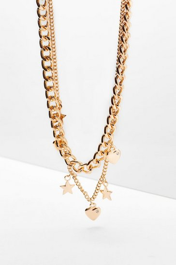 Gold Heart Star Double Layered Necklace