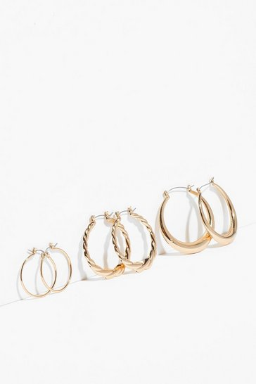 Gold We'll Keep You in the Loop 3-Pc Earring Set