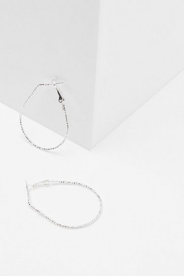 Silver Not Oval You Hoop Earrings