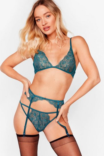 Emerald Not the Lace 3-Pc Bralette Panty and Suspender Set