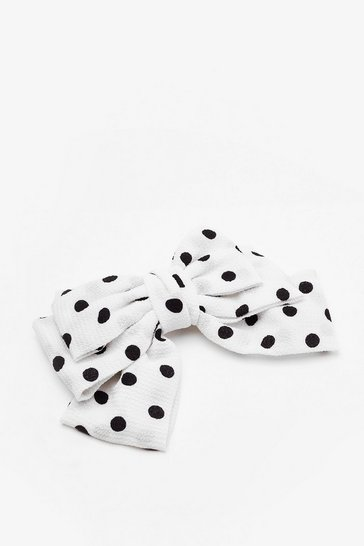 White Bow Holding Back Polka Dot Hair Clip