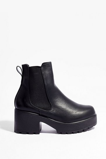 Black Faux Leather Platform Heeled Chelsea Boots