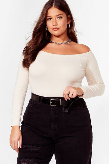 Stone Shrug It Off-the-Shoulder Plus High-Leg Bodysuit