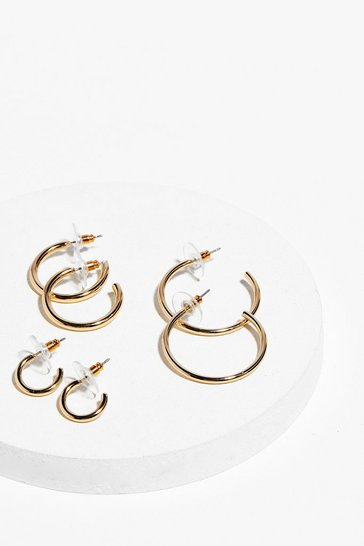 Gold In the Mix 3-Pc Hoop Earring Set
