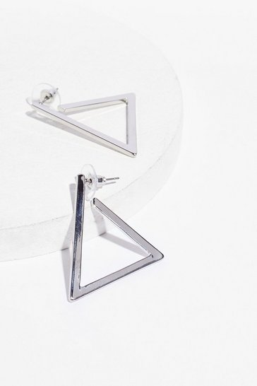 Silver Know Your Triangles Drop Earrings