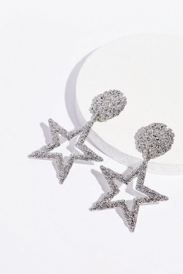 Silver See It in the Stars Textured Drop Earrings