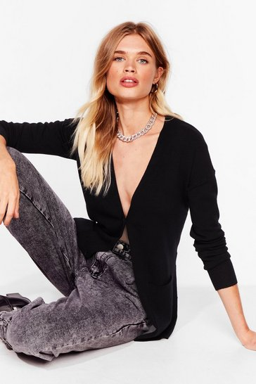 Black Getting Warmer Knitted Longline Cardigan