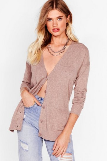Taupe Getting Warmer Knitted Longline Cardigan