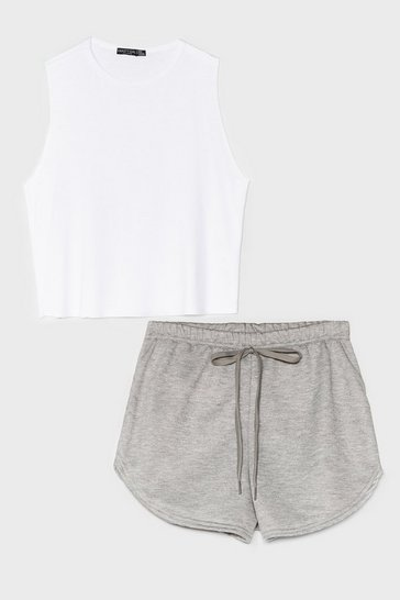 White Turn Up the Radio Tank Top and Shorts Set