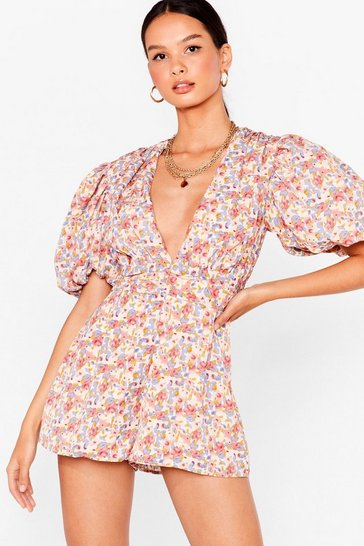 Blue floral puff sleeve playsuit
