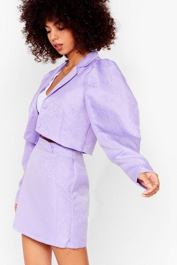 Purple Like It's Jacquard Cropped Puff Sleeve Blazer