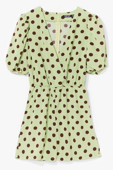 Sage Polka Dot to Worry Satin Romper