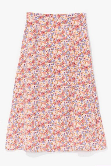 Blue Do the Slits Floral Midi Skirt
