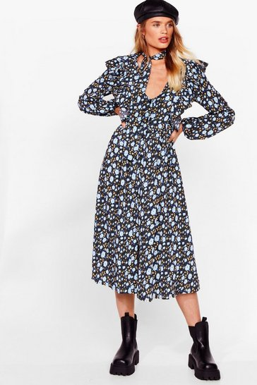 Blue Floral Ruffle Shoulder Midi Tea Dress