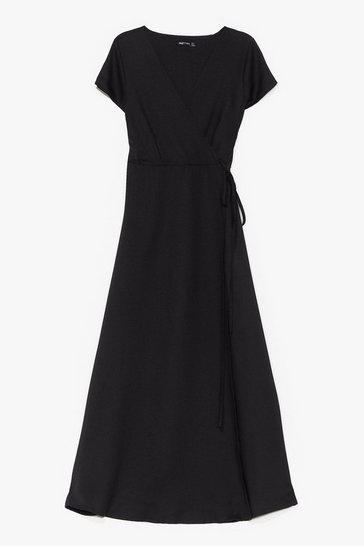 Black Let's Wrap This Up Plus Maxi Dress